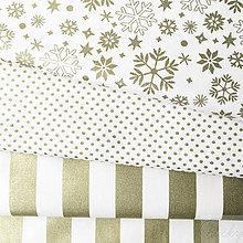 Textil - slávnostná pásikavá 100 % bavlna so zlatotlačou, 50 x 140 cm - 8546072_