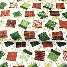 Textil - vianočné balíčky; 100 % bavlna, šírka 140 cm, cena za 0,5 m - 8546082_