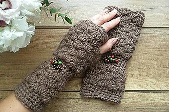 Rukavice - ROMANTIK rukavičky hnedé - 8545966_