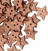 Galantéria - G120 Gombík drevený hviezdička 1,9 cm - 8543273_