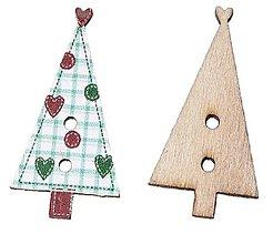 Galantéria - Gombík drevený stromček 3 x 1,5 cm - 8543277_