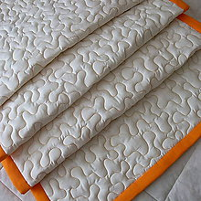 Úžitkový textil - Smotanová zástena s oranžovými vlnami a lemovaním - 8543198_