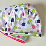 Detské čiapky - detská čiapka oteplená bodky - 8544860_