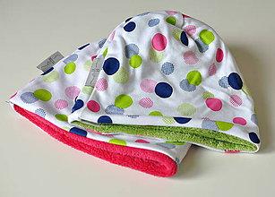 Detské čiapky - detská čiapka oteplená bodky - 8544861_