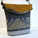 "Veľké tašky - Vyšívaná kabelka ""Sivozlatá"" - 8544942_"