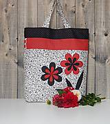 Nákupná taška - čierno bielo červené kvety