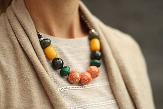 Náhrdelníky - Mohutný náhrdelník z minerálov mix - 8545695_