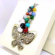 Náhrdelníky - Multi-gemstone Chakra & Butterfly Bronze Necklace / Čakrový náhrdelník s príveskom motýľa /0498 - 8548370_