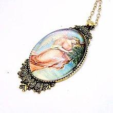 Náhrdelníky - Angel Antique Gold Filigree Necklace / Starozlatý vintage náhrdelník Anjel /0496 - 8548591_