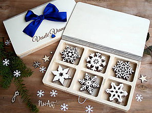 Dekorácie - Drevené vianočné ozdoby - Vločková kolekcia - 8549187_