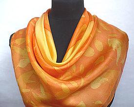 Šatky - Oranžová jeseň. Hedvábný šátek. - 8548253_