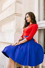 Sukne - Královsky modrá kolová sukně - 8549207_