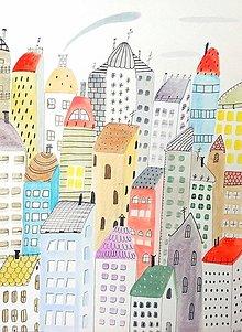 Obrazy - Mesto 23 - ilustrácia obraz / originál maľba - 8548462_
