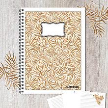 Papiernictvo - MADEBOOK špirálový zošit A5 - LISTY HNEDÉ - 8547517_