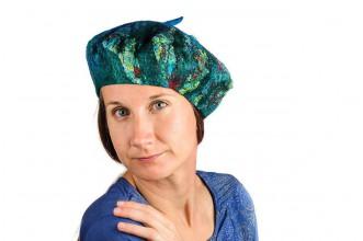 Čiapky - Plstená vlnená baretka z Merino vlny a hodvábu, modro- zelená - 8549957_