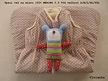 Textil - Ovčie rúno Detský spací vak na zimu 100% MERINO TOP super wash BODKA béžová - 8550359_