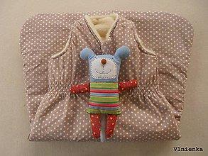 Textil - Ovčie rúno Detský spací vak na zimu 100% MERINO TOP super wash BODKA béžová - 8550360_