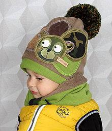 Detské čiapky - Hrejivý set s mackom - 8549296_