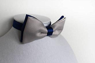 Doplnky - Pánsky motýlik šedo-modrý saténový - 8548189_