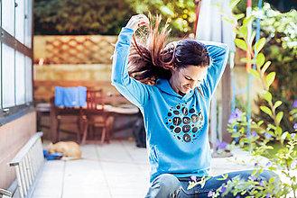 Mikiny - Mikina Love yoga modrá - 8546672_