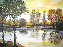 Obraz olejomaľba Pri jazere