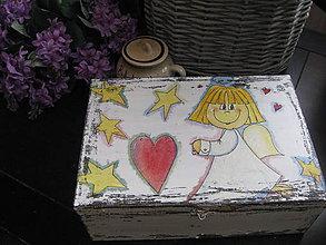 Detské doplnky - Veľká drevená šperkovnica s anjelikmi - 8546702_