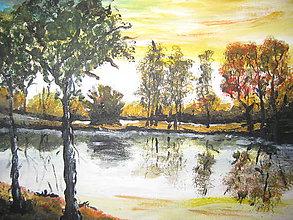 Obrazy - Obraz olejomaľba Pri jazere - 8548900_