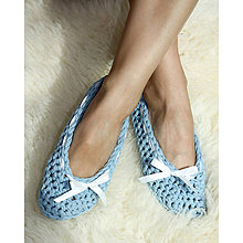 Obuv - Háčkované papučky modré - 8549748_