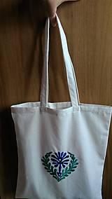 Nákupné tašky - Taška so zeleno-modrou výšivkou - 8550376_