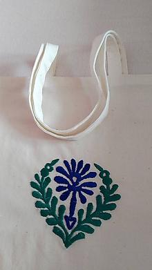 Nákupné tašky - Taška so zeleno-modrou výšivkou - 8550375_