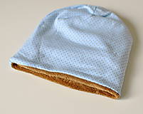 Detské čiapky - detská čiapka oteplená hnedé bodky - 8549743_