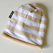 Detské čiapky - detská čiapka oteplená prúžky - 8549581_