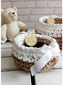 Košíky - pletený košík Moly bielo/ prírodný \
