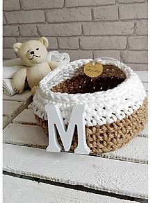 Košíky - pletený košík Moly bielo/prírodný \