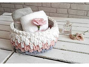 Košíky - pletený košík Moly biel/ružovo/sivý - 8547491_