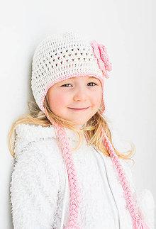 Detské čiapky - Prechodná ušianka ... bielučká - 8551138_