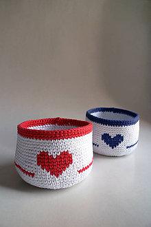 Košíky - Košík - Biely | Červená | Modrá | Srdce (Modrá) - 8553295_