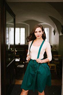 Sukne - Sukně Zora s traky a gombiky zelená - 8552545_