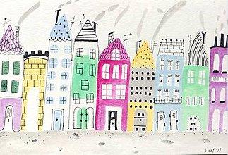 Papiernictvo - Mesto pohľadnica - ilustrácia / originál maľba - 8551268_