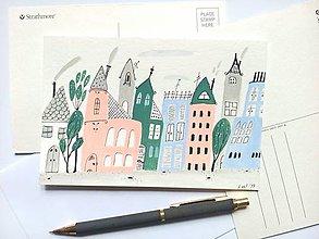 Papiernictvo - Mesto 2 pohľadnica - ilustrácia / originál maľba - 8551308_