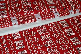 Textil - Látka Čičmany biela na červenej - 8550622_