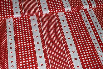 Textil - Látka Srdiečka, kvietky, kocky červené v pruhoch - 8550640_