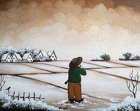 Obrazy - Zimné rozprávky - Poľovník - 8550764_
