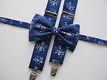 Doplnky - Pánsky motýlik a traky- set z modrotlače - 8552837_