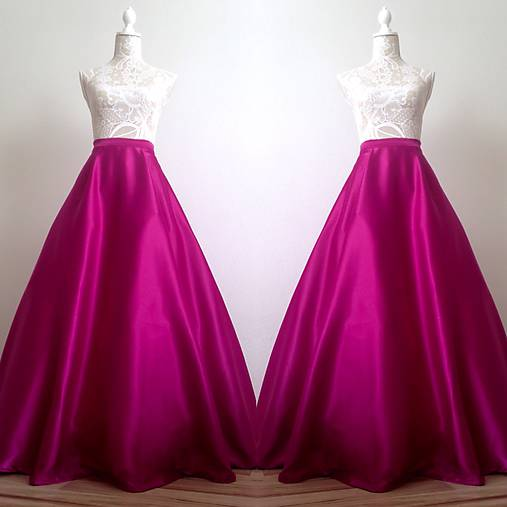 2392e738be88 Spoločenská saténová sukňa dlhá kruhová fuchsiová   TinyThea - SAShE ...