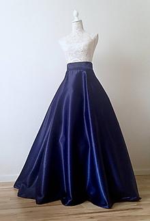 Sukne - Spoločenská saténová sukňa dlhá kruhová tmavomodrá - 8551463_