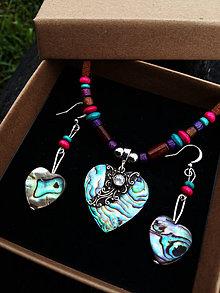 Sady šperkov - set mušľa Paua Abalone + Topás - 8552566_