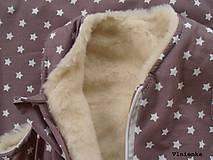 Textil - Spací vak pre deti a bábätká ZIMNÝ 100% MERINO na mieru Hviezdička hnedá - 8550894_