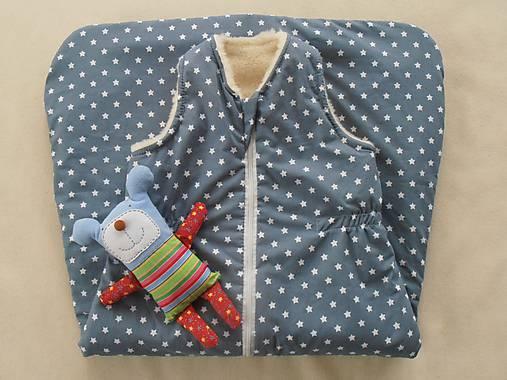 Spací vak pre deti a bábätká ZIMNÝ 100% MERINO na mieru Hviezdička modro sivá