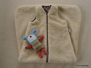 Textil - Spací vak pre deti a bábätká ZIMNÝ 100% MERINO na mieru Hviezdička hnedá - 8550887_
